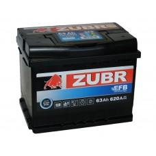 Автомобильный аккумулятор ZUBR EFB 63 А/ч обр/п