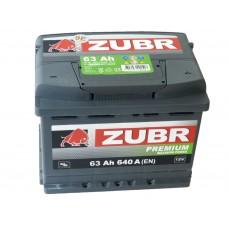 Автомобильный аккумулятор ZUBR Premium 63 А/ч