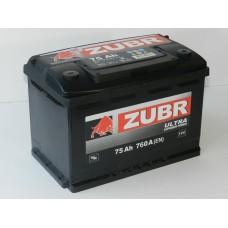 Автомобильный аккумулятор ZUBR ULTRA 75 А/ч