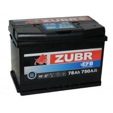 Автомобильный аккумулятор ZUBR EFB 78 А/ч обр/п